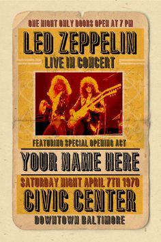 Your Name on a Led Zeppelin concert poster 12x18 by posterinc
