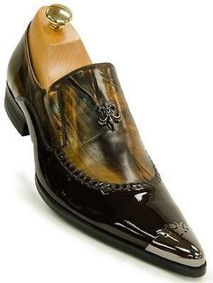 Fiesso Mens Brown Caramel Leather Metal Cap Toe Slip On European Style Shoe