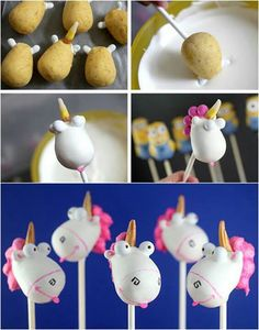 Despicable Me unicorn cake pops