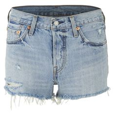 Levi's Women's 501 Shorts - Waveline ($65) ❤ liked on Polyvore featuring shorts, blue, cut off shorts, destroyed denim shorts, denim cutoff shorts, jean shorts and ripped denim shorts