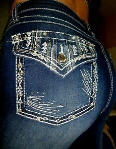 Woman/'s EARL JEANS Size 14 Bling Stretch Rhinestone Cross Slim boot  ~31 X 32