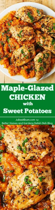 Maple-Glazed Chicken with Sweet Potatoes - SO good,lots of protein, fiber, and its gluten-free! #BHG #sponsored