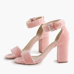 Wheretoget - Pastel pink velvet platform high-heeled sandals