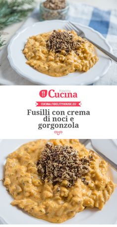 Fusilli con crema di noci e gorgonzola Veg Recipes, Pasta Recipes, Italian Recipes, Good Food, Yummy Food, Tasty, Good Carbs, Rice Soup, Fusilli