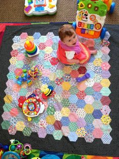 Life Under Quilts - EPP - great idea for toddler quilt using lots of scraps. Going to use this for Olive's 1 year quilt