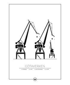 GÖTAVERKENS KRANAR - GÖTEBORG Online Posters, Gothenburg, Sweden, Graffiti, Nostalgia, Abs, Sketches, Wallpaper, Tattoos