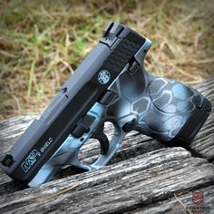 M&P Shield cerakote, custom gun paint, oklahoma gun custom - Tactical Grey with Smith And Wesson Shield, Smith N Wesson, Camo Guns, Hunting Guns, Weapons Guns, Guns And Ammo, Revolver, 9mm Pistol, Handgun
