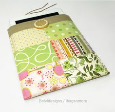 iPad 2 or iPad 3 case / cover / sleeve - Mother's Day gift - Pink green yellow white patchwork