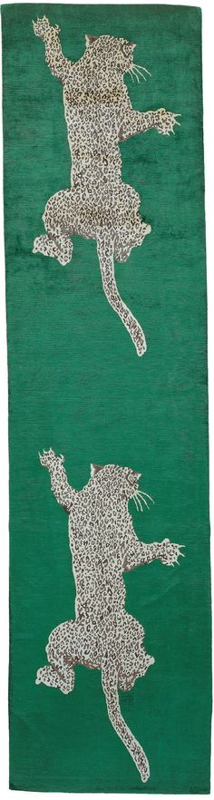 Climbing Leopard runner by Diane von Furstenberg for The Rug Company There is also a purple background; prefer over the green.