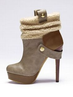 Break out of your cold-weather style routine with the Colin Stuart® Sherpa-trim Bootie from Victoria's Secret. A side buckle adds a decidedly rugged appeal while the 5¼-inch heel makes this boot effortlessly transition from day to night.