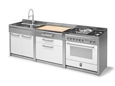 GENESI Modulo cucina con lavello doppio by Steel