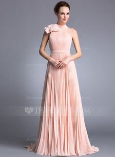 Evening Dresses - $129.99 - A-Line/Princess Scoop Neck Sweep Train Chiffon Evening Dress With Ruffle Bow(s) (017042840) http://jjshouse.com/A-Line-Princess-Scoop-Neck-Sweep-Train-Chiffon-Evening-Dress-With-Ruffle-Bow-S-017042840-g42840