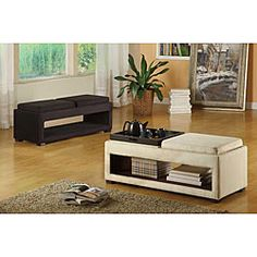 @Overstock - Double reversible tray bench has an open storage shelf  Living room furniture is available in black and cream microfiber color options  Accent bench features solid wood frame constructionhttp://www.overstock.com/Home-Garden/Double-Reversible-Tray-Microfiber-Bench/4321519/product.html?CID=214117 $236.99