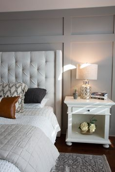 night stand, nightstand, nightstand ideas, nightstand decor, board and batten be… Bedding Master Bedroom, Master Bedroom Makeover, Master Bedroom Design, Home Bedroom, Bedroom Decor, Master Bedrooms, Bedroom Ideas, Bedroom Wall Designs, Neutral Bedrooms