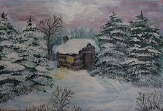 Iarna la munte - acrilice (15x20cm) Winter mountain by                   Veronica Ciobanu