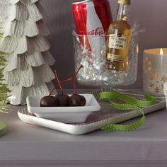 Combine Chocolate Rum-Soaked Cherries (recipe here) with a mini bottle of Bacardi Gold rum and a short can of Coca-Cola for a cheery, cute and classic gift idea.