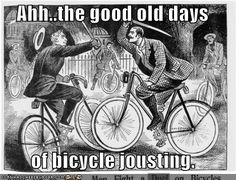 """""""Death Race """"Men fight a duel on bicycles!"""" from the Illustrated Police News. Anger Management Counseling, Renaissance Memes, Police News, Victorian Illustration, Vintage Illustrations, Illustration Art, History Jokes, Funny History, Death Race"""