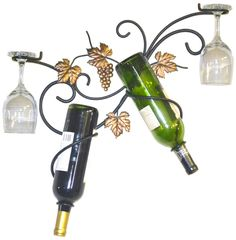 WALL MOUNTED TWO BOTTLE WINE & GLASS HOLDER/RACK #JJWire