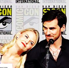 Colin O'Donoghue -Killian Jones - Captain Hook and Co Star Jennifer Morrison - Emma Swan on Once Upon A Time Comic-Con International 2015