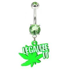 Legalize It Pot Leaf Belly Button Ring