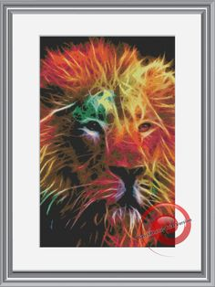 Color Fractal Lion Cross Stitch Pattern, Instant Download PDF