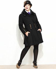Betsey Johnson Plus Size Coat, Faux-Fur Corset Flared - Womens Coats - Macy's