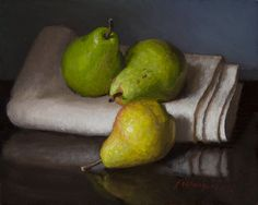 Wang Fine Art: pears, contemporary original still life oil painting daily painting a day