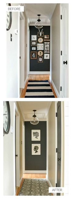 A small narrow hallway gets a sleek modern makeover with lots of contrast and texture. How to add style to a small hallway. A narrow hallway gets a sleek modern makeover with lots of contrast and texture. Hallway Wall Decor, Hallway Walls, Hallway Storage, Hallway Lighting, Entryway Decor, Hallway Decorations, Hallway Paint, Small Upstairs Hallway, Small Hallways