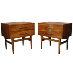 Vintage Pair of American Walnut Banded Modernist Nightstands - Danish Style | From a unique collection of antique and modern night stands at http://www.1stdibs.com/furniture/tables/night-stands/