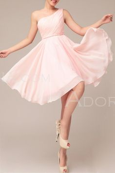 Bridesmaids: Chiffon A Line Light Pink Short One Shoulder