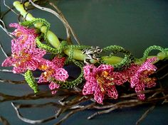 Crocheted Wire Flower Necklace with Russian Agate  by dragonswire, $325.00