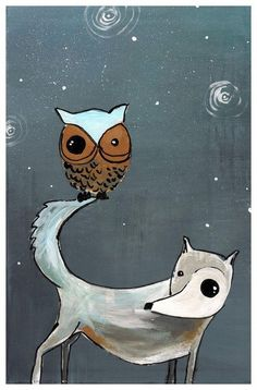 Adorable wolf and owl painting for the kid's room
