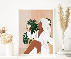 Woman Illustration, Plant Illustration, Black Art Painting, Décor Boho, Black Girl Art, Mid Century Art, Art Moderne, Art Mural, Art Design