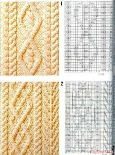 patterns with knitting needles. Discussion on LiveInternet - Russian Online Diaries cable patterns and chartsArana - a kopilochku / Crafts Cable Knitting Patterns, Knitting Stiches, Crochet Stitches Patterns, Knitting Charts, Lace Knitting, Stitch Patterns, Knitting Needles, Beginner Crochet Tutorial, Creations