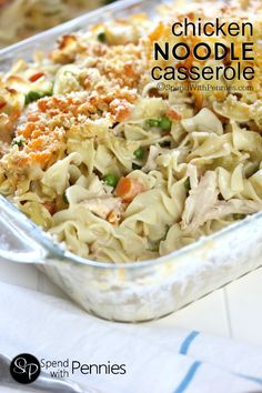 This Creamy Chicken Noodle Casserole is made from scratch! Easy & cheesy it's quick to make loaded up with veggies (not salt) & it tastes amazing too! Chicken Noodle Casserole, Casserole Dishes, Casserole Recipes, Tuna Casserole, Chicken Noodles, Hamburger Casserole, Chicken Pasta, Grilled Chicken, Slow Cooker Recipes