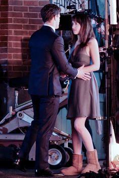 Jamie Dornan and Dakota Johnson on set of Fifty Shades of Grey in Vancouver - 16 Jan 2014 ..rh