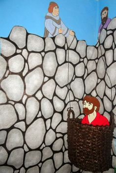 Great visuals to put on the wall to visualize stories from the book of Acts. Paul over the wall in a basket here. //http://kidsbibledebjackson.blogspot.com/