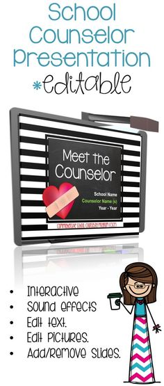 Show your school the value of your work by explaining your Comprehensive School Counseling Program at the beginning of the school year with this Meet the Counselor presentation. As an ASCA RAMP award winner for I have found that support from from pa School Counselor Lessons, School Counselor Office, High School Counseling, Elementary School Counselor, School Social Work, Elementary Schools, Counseling Office, Group Counseling, Primary Education