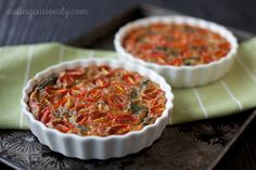 Crustless Quiche with Onions, Spinach & Cherry Tomatoes