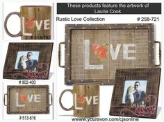 """Introducing Craft Collective:  A handcrafted lifestyle brand created by unique artists with collections designed EXCLUSIVELY for Avon.   Features the artwork of Laurie Cook for Craft Collective.Set includes: Love Mug, Holds up to 14 oz., Lift is Short Kiss Frame, Fits 3 1/2"""" sq. picture, Frame 6 1/2 sq. x /2"""" W, Love Serving Tray 13 3/4"""" L x 9 1/2"""" W x 1 1/3"""" H 