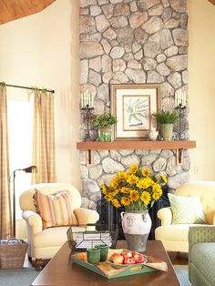 stones were professionally cleaned and etched to lighten the color. With the lighter facade, the fireplace no longer dominates the room but instead sets the tone for a more cheerful family room.