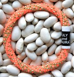 Lily and Laura bracelet   Intricate Neon Coral Twist
