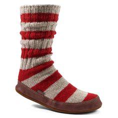 Acorn SLIPPER SOCKS for Men and Women-Red Stripe Ragg Wool