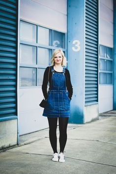 perfect jeans look with dungarees as a dress and adidas sneaker