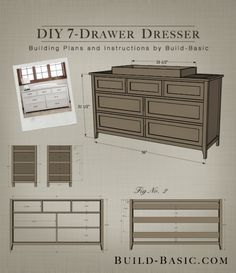 Build a DIY 7 Drawer Dresser – Building Plans by @BuildBasic www.build-basic.com