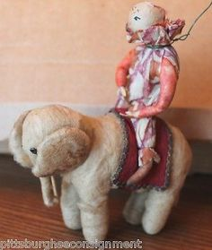 For Scott Antique Spun Cotton German Wire Christmas Ornament Elephant w Clown   eBay  Sold $400.00