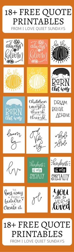 20 Free downloadable quotes. Motivational quotes, work out quotes.  Art quotes #printables