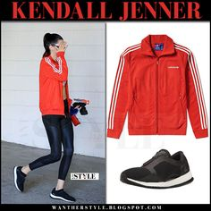Kendall Jenner in red track jacket and black leggings adidas