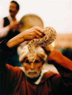 A snake charmer in Marrakech, Morocco, 2001 - John Huba Photography