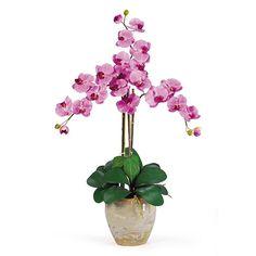 nearly natural Triple-Stem Silk Phalaenopsis Orchid Floral Arrangement, Multicolor